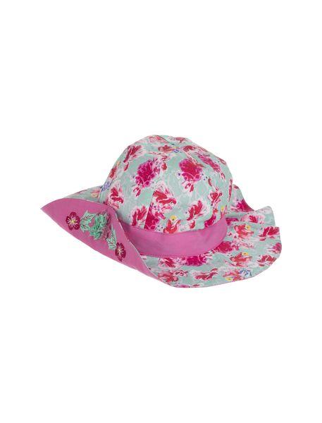 کلاه نخی طرح دار دخترانه - سبز آبي - 3