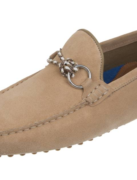 کفش چرم راحتی یکسره مردانه - کرم - 6