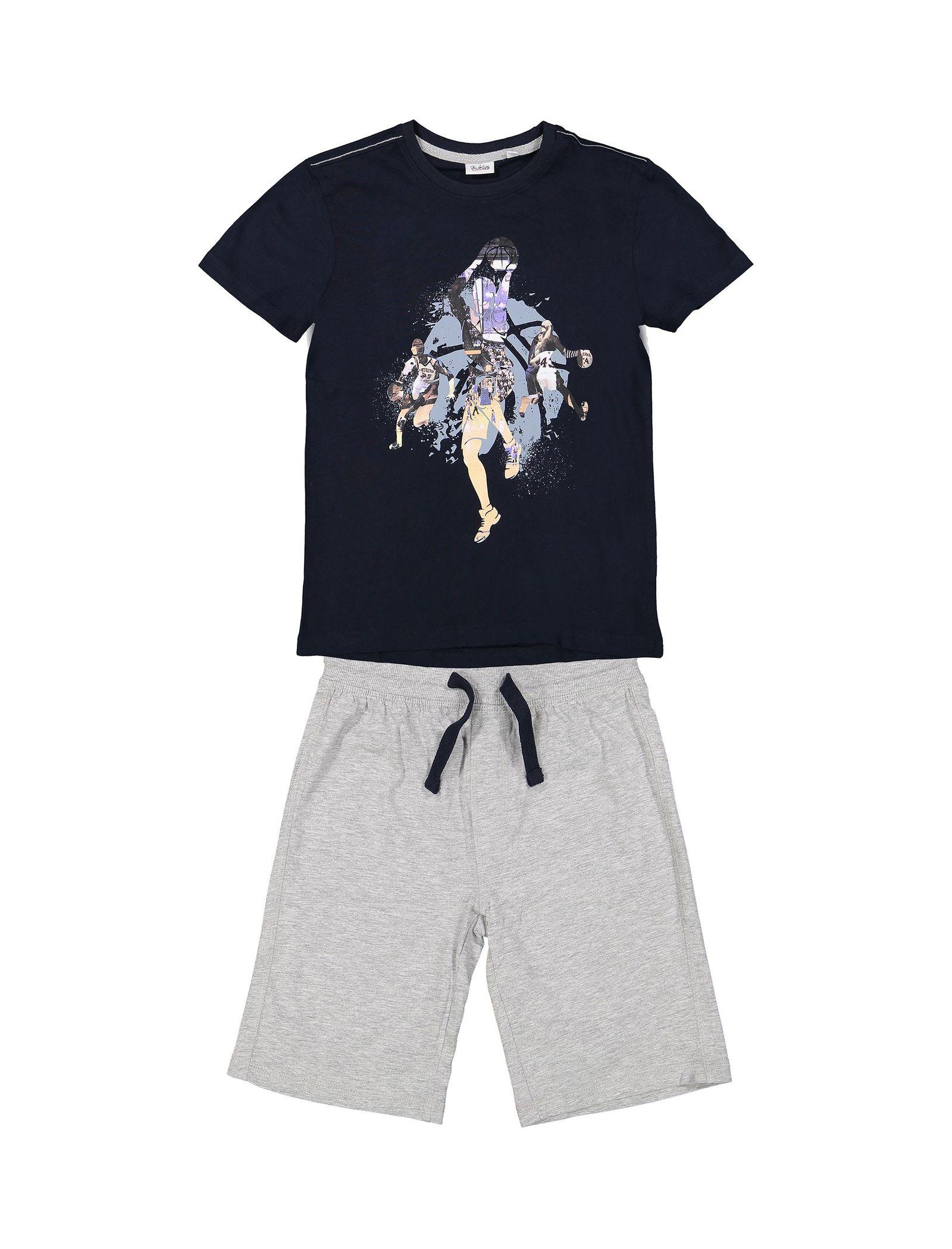 تی شرت و شلوارک نخی پسرانه - بلوکیدز - سرمهاي/طوسي - 1