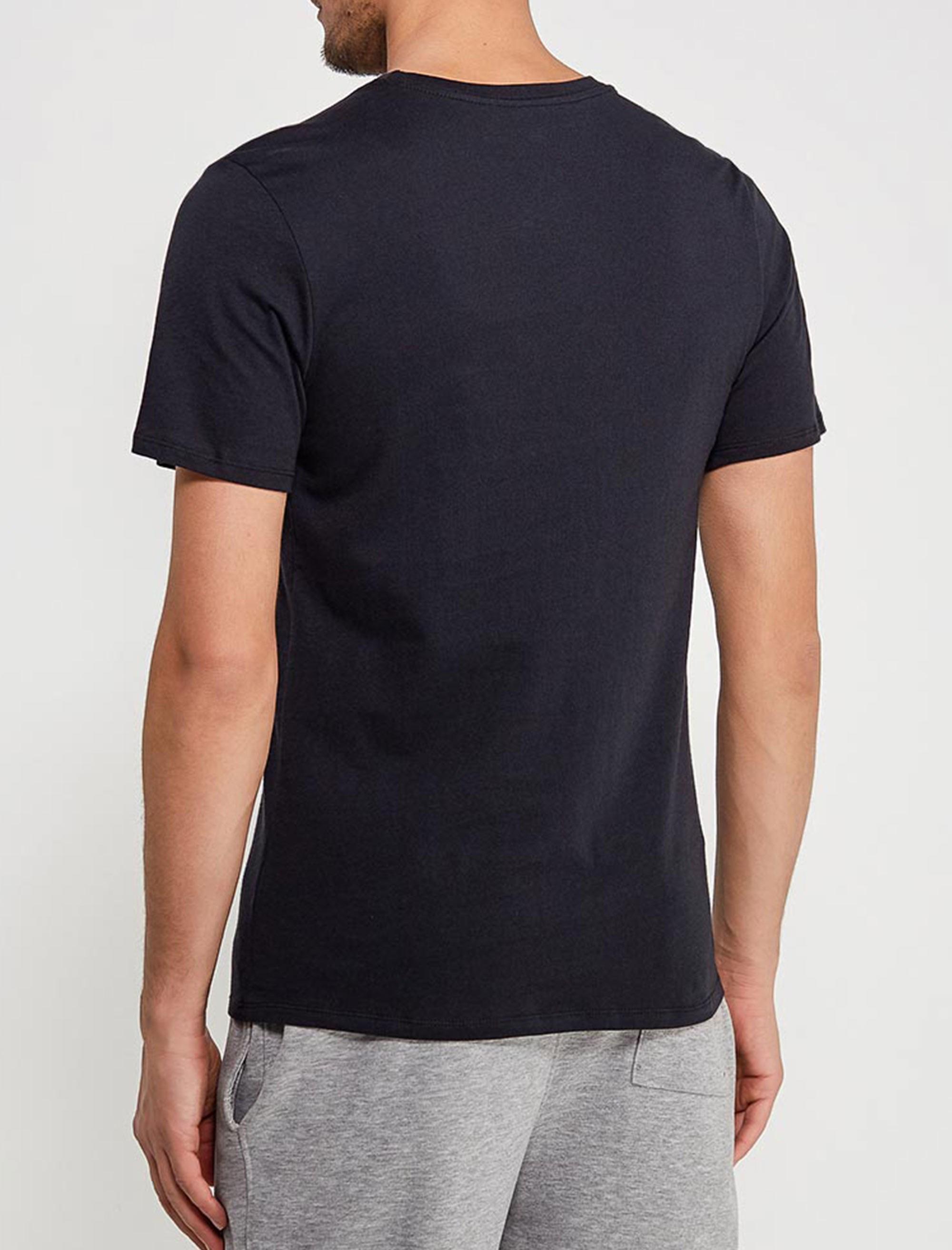 تی شرت نخی یقه گرد مردانه Just Do It - مشکي - 4