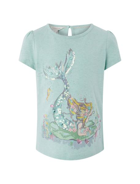 تی شرت نخی آستین کوتاه دخترانه - سبز پسته اي - 1