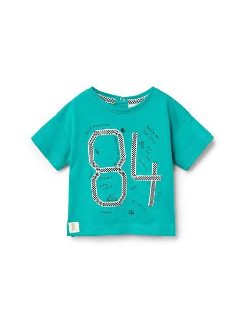 تی شرت نخی ساده نوزادی پسرانه - سبز آبي - 1