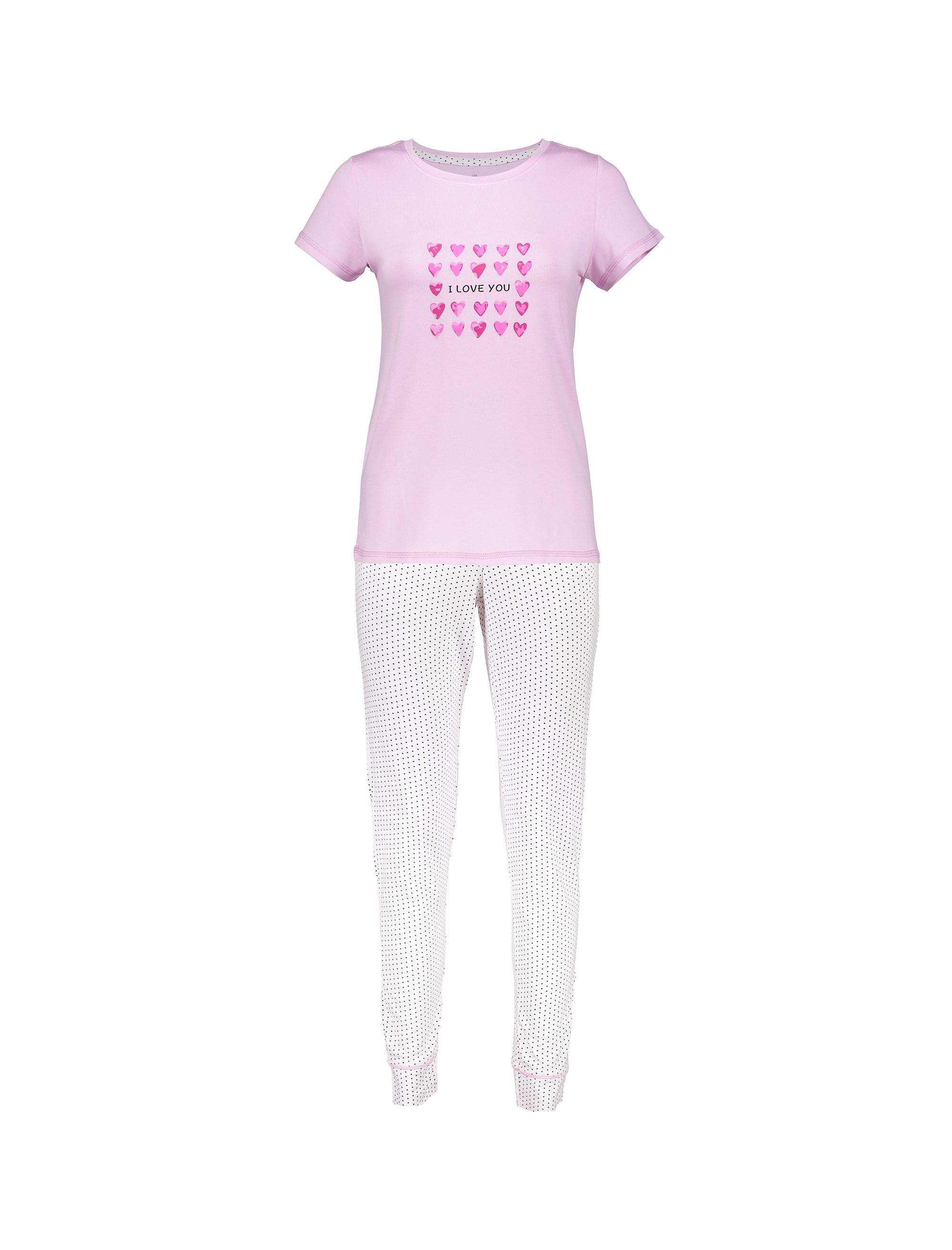 تی شرت و شلوار ویسکوز زنانه - صورتي - 1