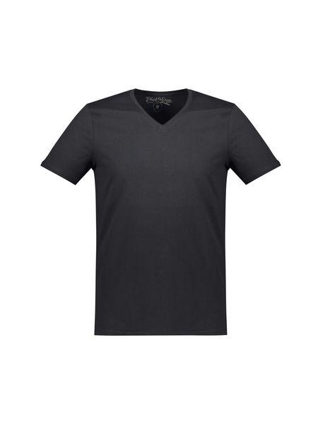 تی شرت نخی یقه هفت مردانه - مشکي - 1