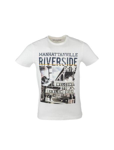 تی شرت نخی یقه گرد مردانه - شيري - 1