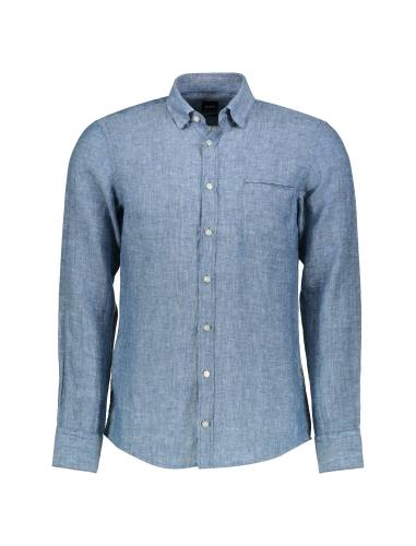 پیراهن نخی آستین بلند مردانه Classy_1 - باس اورنج