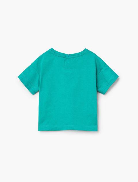 تی شرت نخی ساده نوزادی پسرانه - سبز آبي - 2