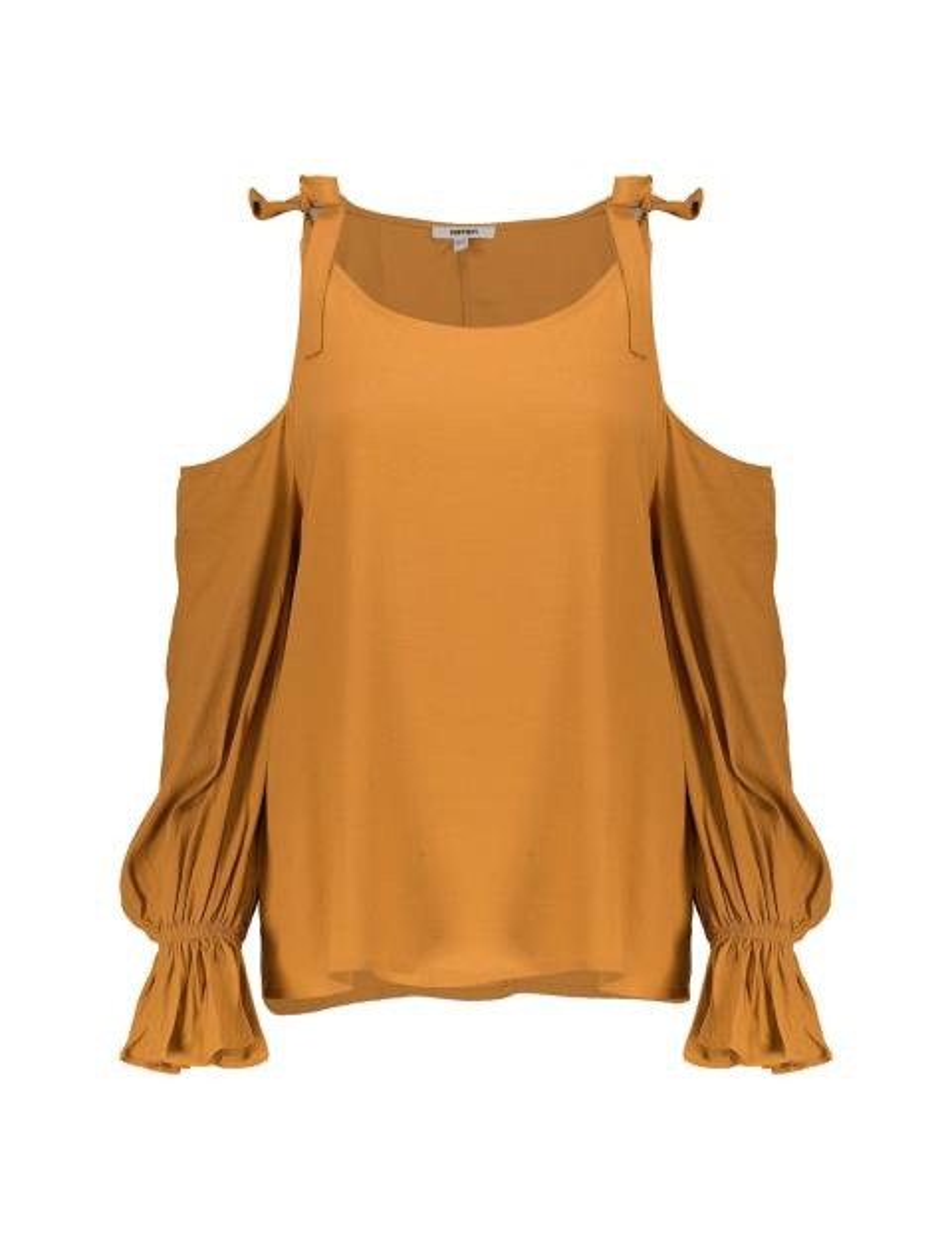 بلوز ویسکوز آستین بلند زنانه - نارنجي - 1