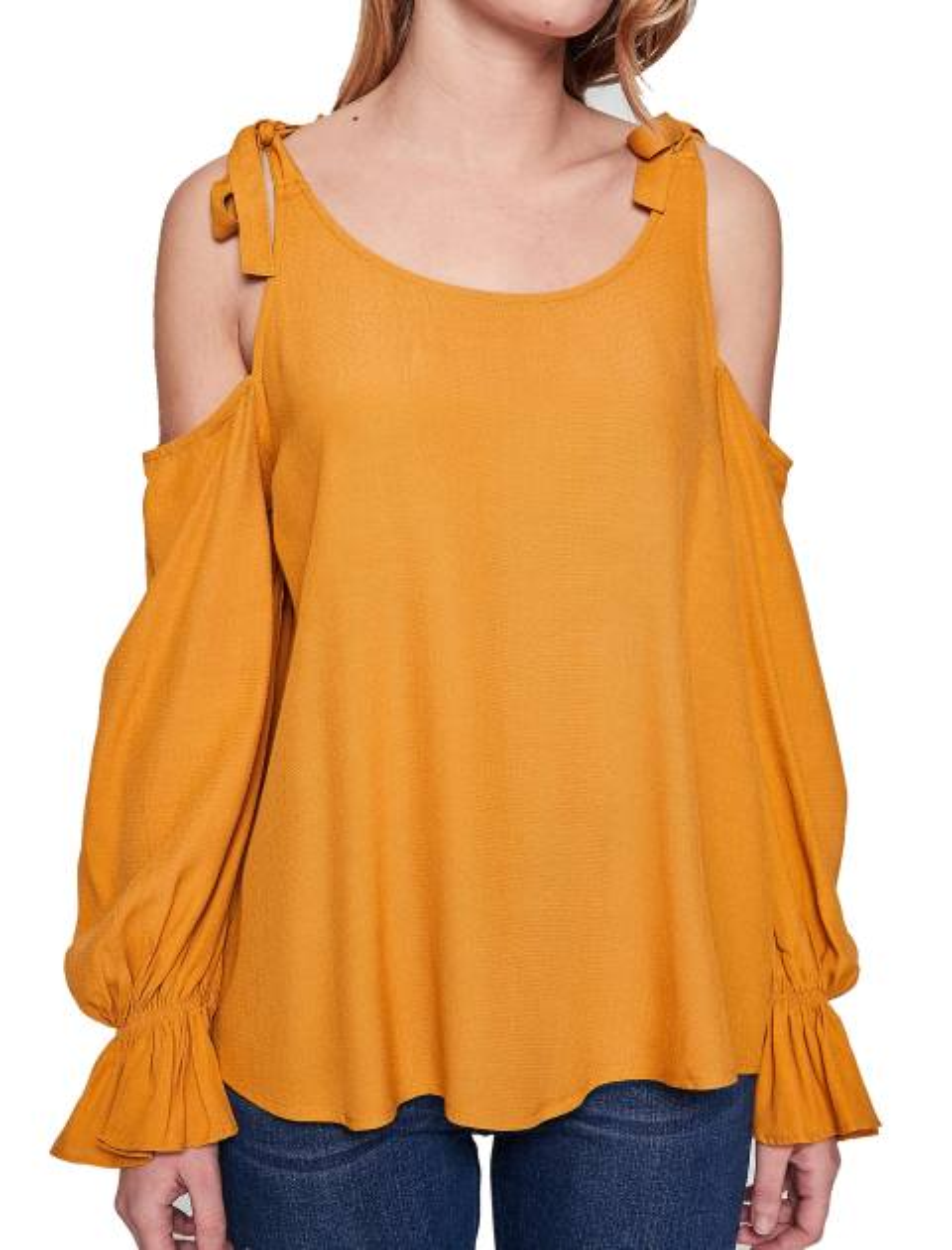 بلوز ویسکوز آستین بلند زنانه - نارنجي - 2