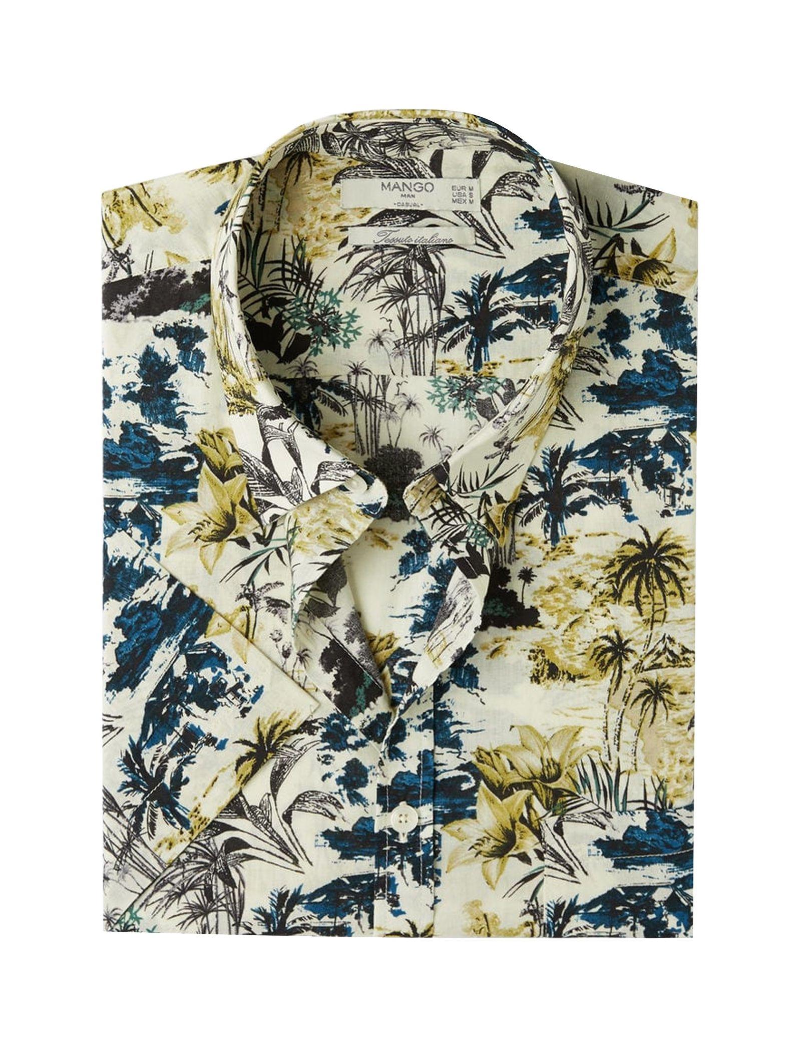پیراهن نخی آستین کوتاه مردانه - مانگو - چند رنگ - 1