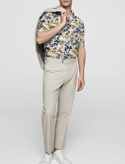 پیراهن نخی آستین کوتاه مردانه - مانگو - چند رنگ - 2