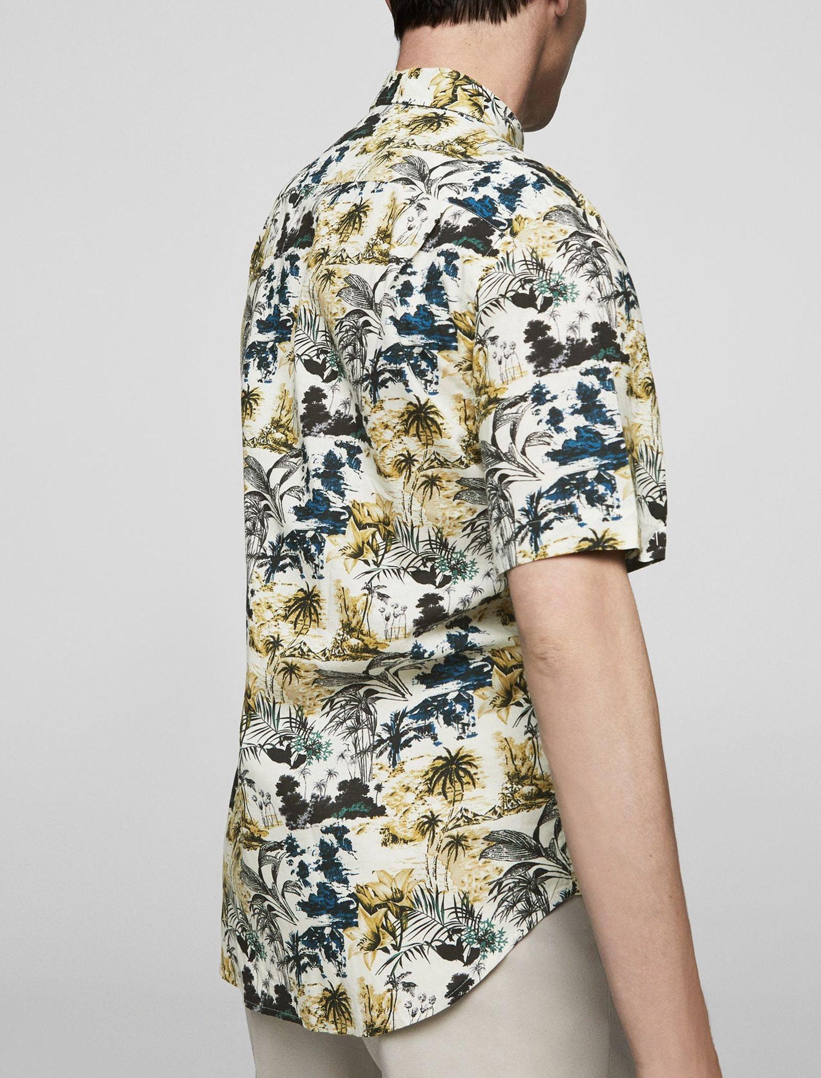 پیراهن نخی آستین کوتاه مردانه - مانگو - چند رنگ - 3