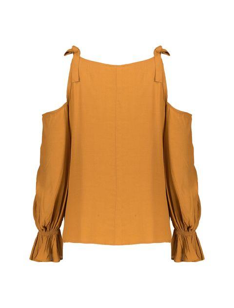 بلوز ویسکوز آستین بلند زنانه - نارنجي - 3