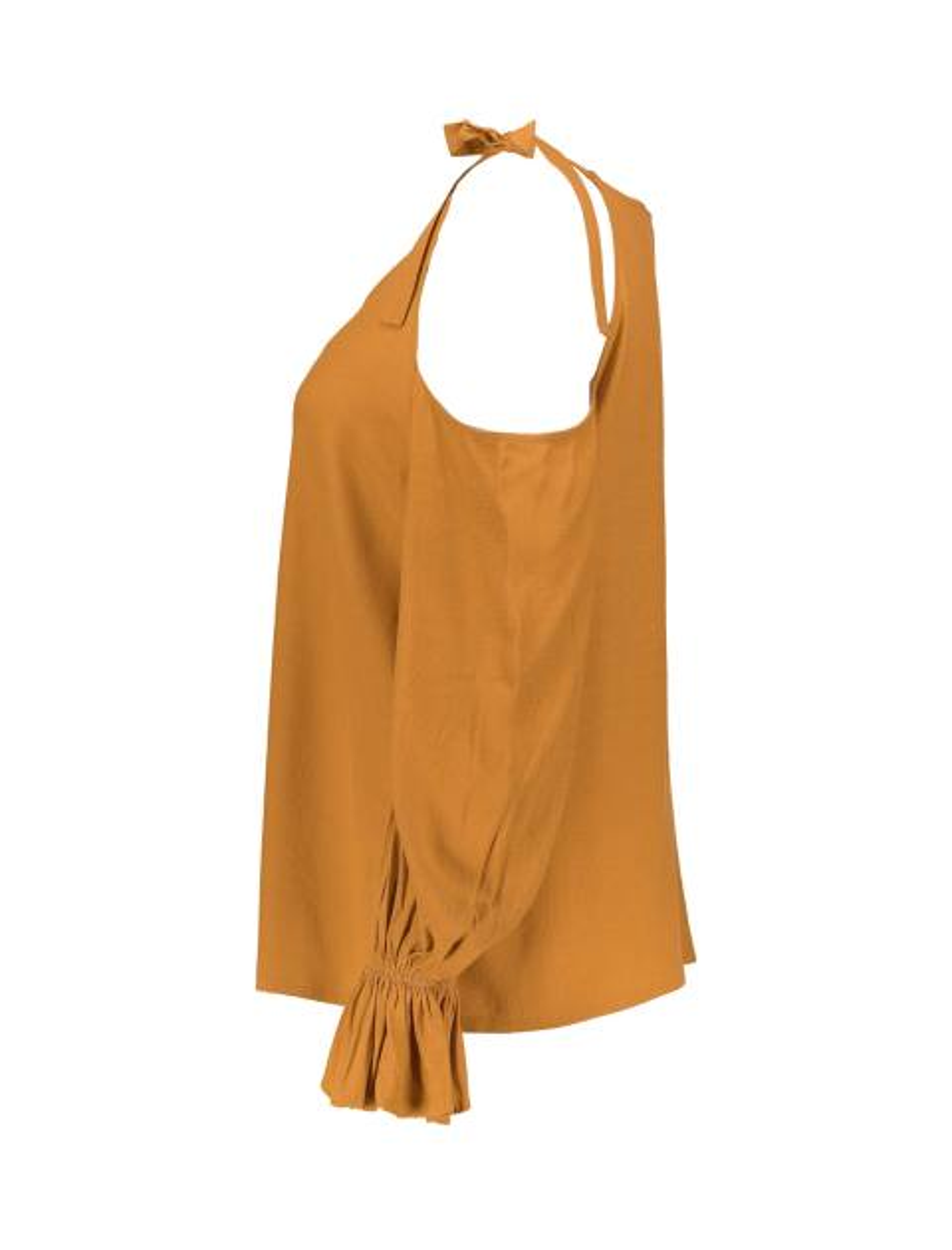 بلوز ویسکوز آستین بلند زنانه - نارنجي - 4
