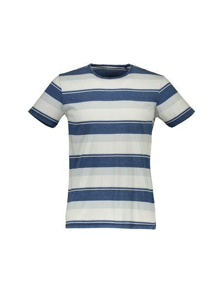 تی شرت نخی یقه گرد مردانه - آبي و طوسي  - 1