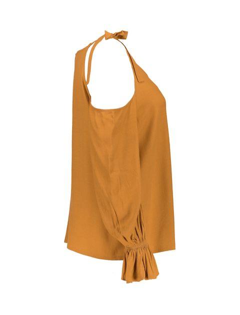 بلوز ویسکوز آستین بلند زنانه - نارنجي - 5