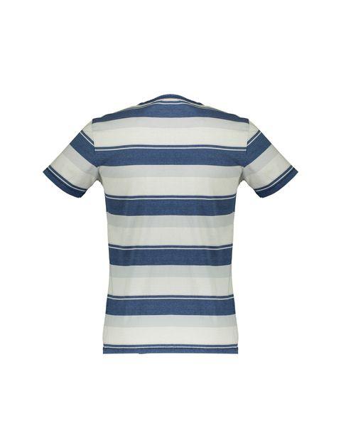 تی شرت نخی یقه گرد مردانه - آبي و طوسي  - 2