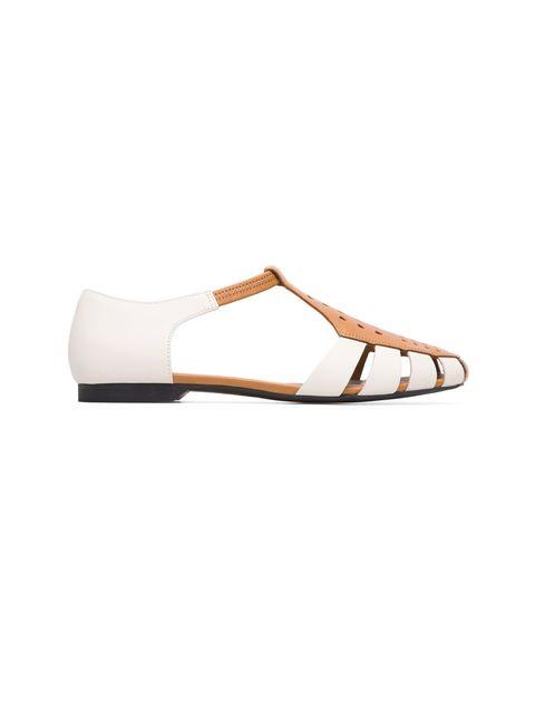 کفش چرم تخت زنانه Servolux - کمپر - سفيد - 1