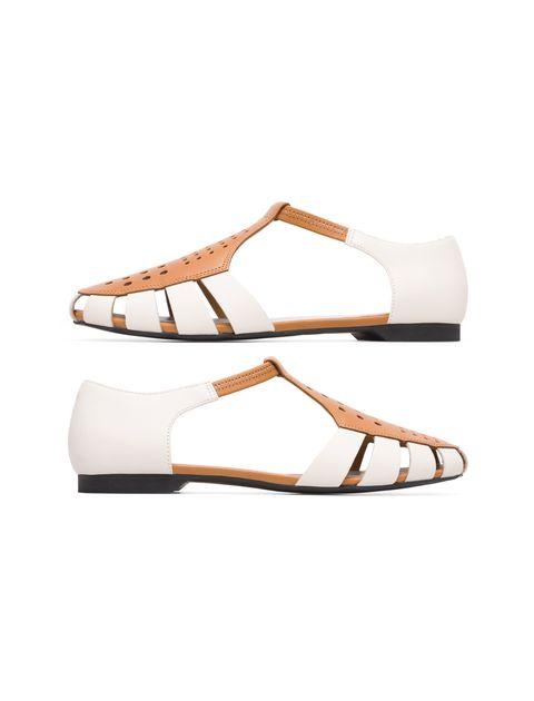 کفش چرم تخت زنانه Servolux - کمپر - سفيد - 3