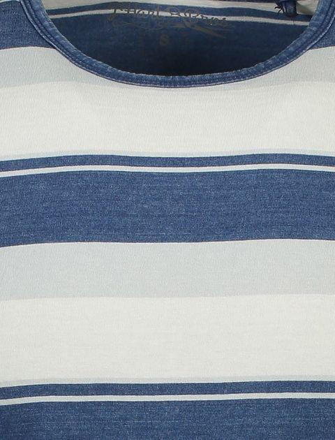 تی شرت نخی یقه گرد مردانه - آبي و طوسي  - 4