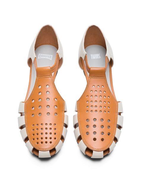 کفش چرم تخت زنانه Servolux - کمپر - سفيد - 4