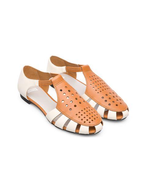 کفش چرم تخت زنانه Servolux - کمپر - سفيد - 5