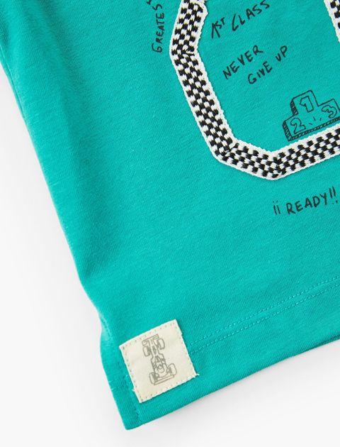 تی شرت نخی ساده نوزادی پسرانه - سبز آبي - 4