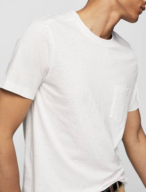 تی شرت نخی یقه گرد مردانه - سفيد - 2