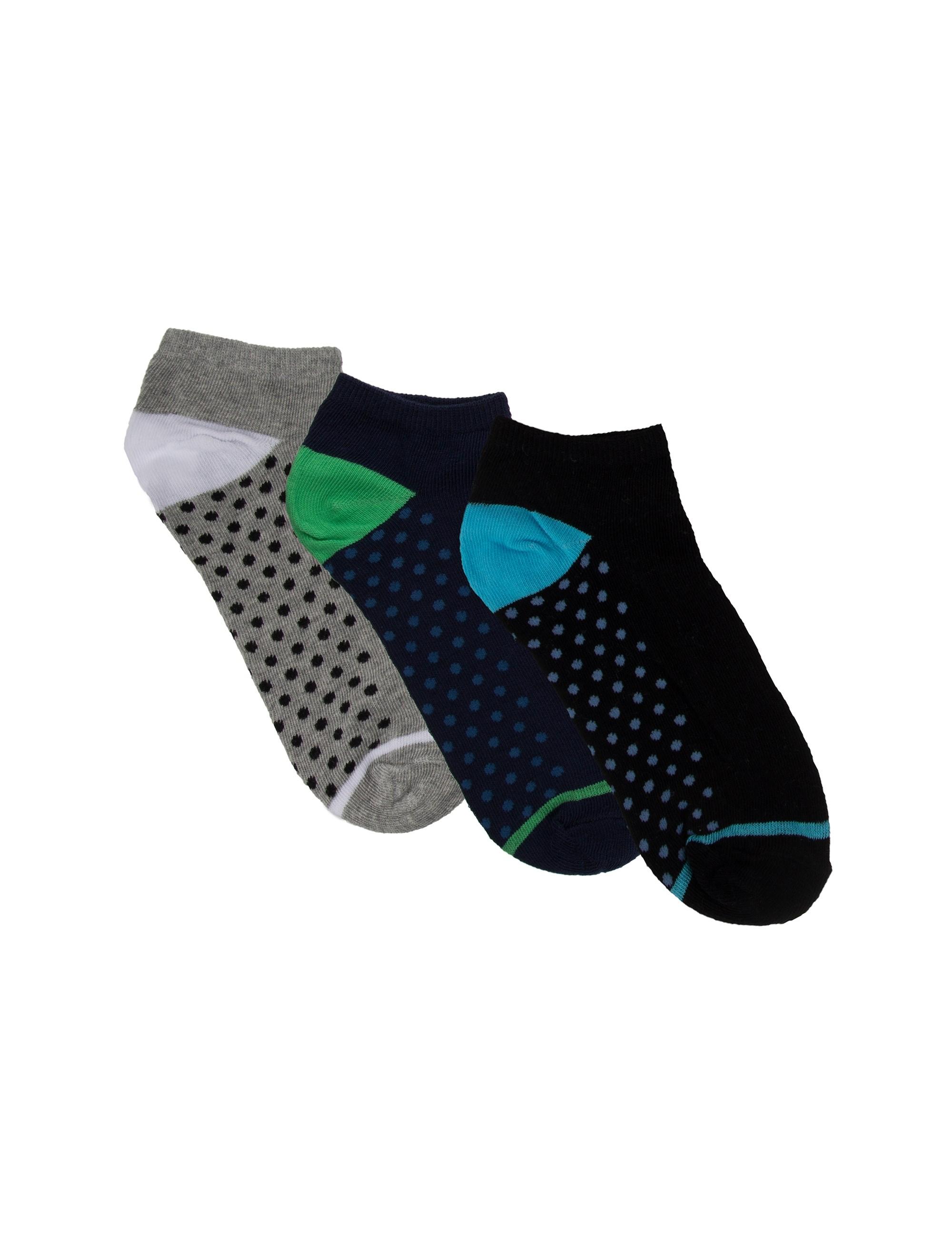 جوراب نخی ساق کوتاه مردانه بسته 3 عددی