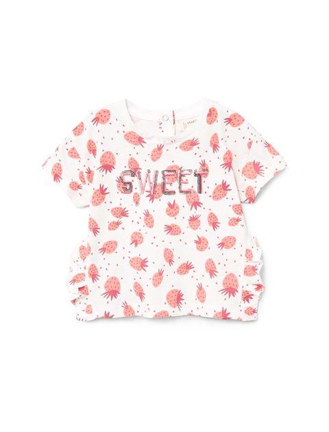 تی شرت نخی طرح دار نوزادی دخترانه - سفيد - 1