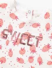 تی شرت نخی طرح دار نوزادی دخترانه - سفيد - 3