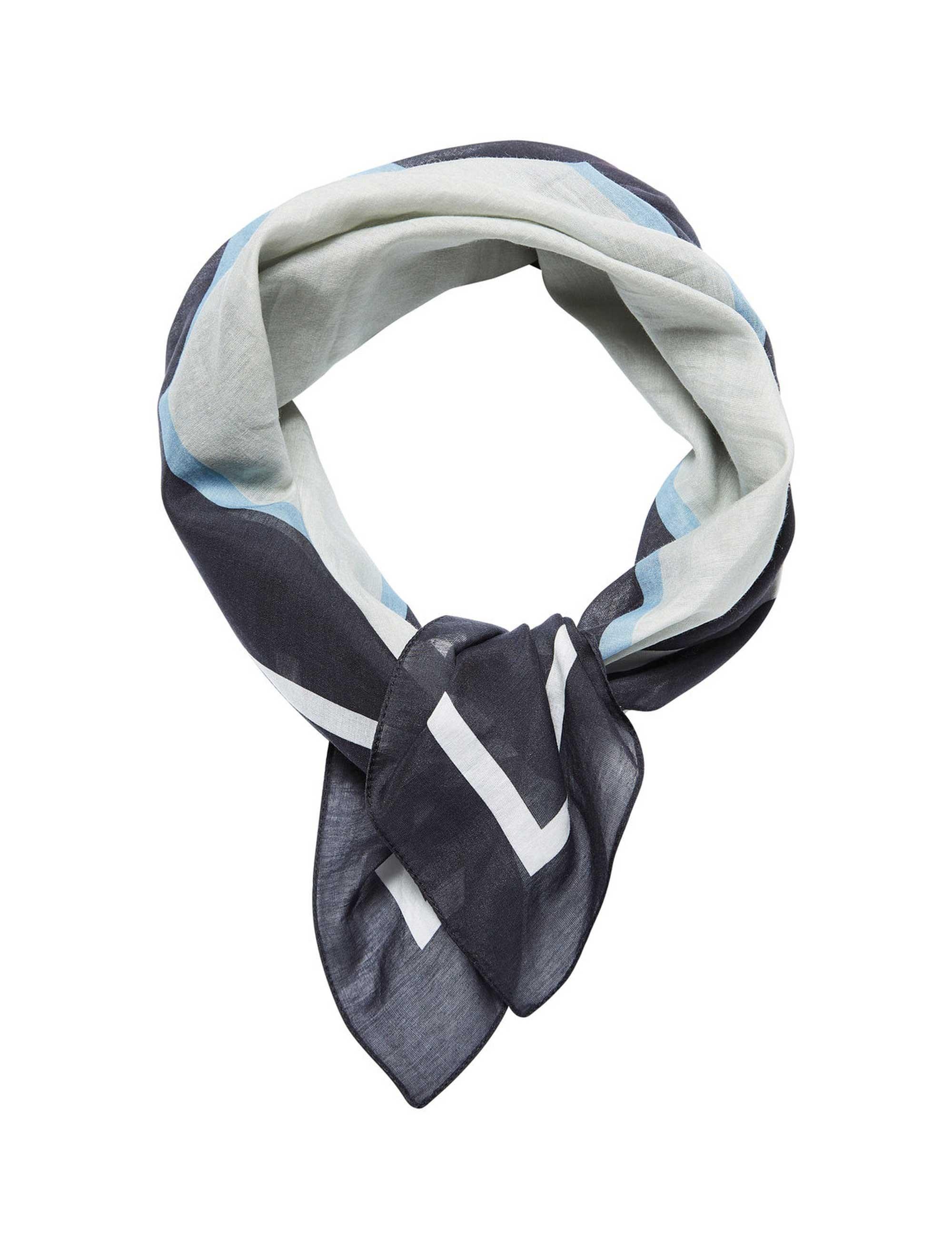 روسری نخی طرح دار زنانه - سلکتد - سفيد و آبي - 1