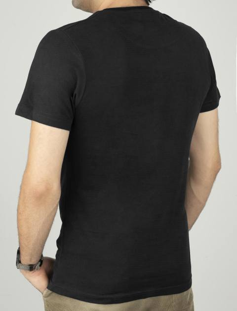 تی شرت نخی یقه گرد مردانه - زی - مشکي - 2