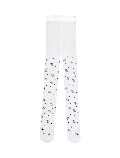 جوراب شلواری طرح دار دخترانه - سفيد - 1