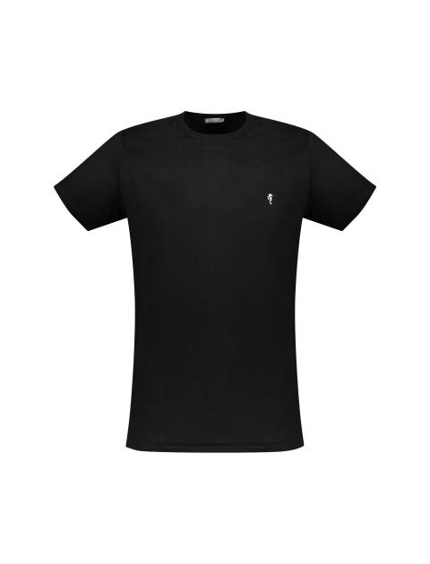 تی شرت نخی یقه گرد مردانه - زی - مشکي - 3