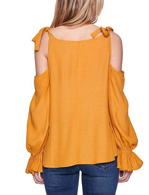 بلوز ویسکوز آستین بلند زنانه - نارنجي - 7