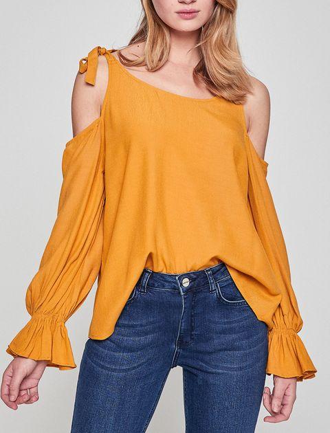 بلوز ویسکوز آستین بلند زنانه - نارنجي - 8