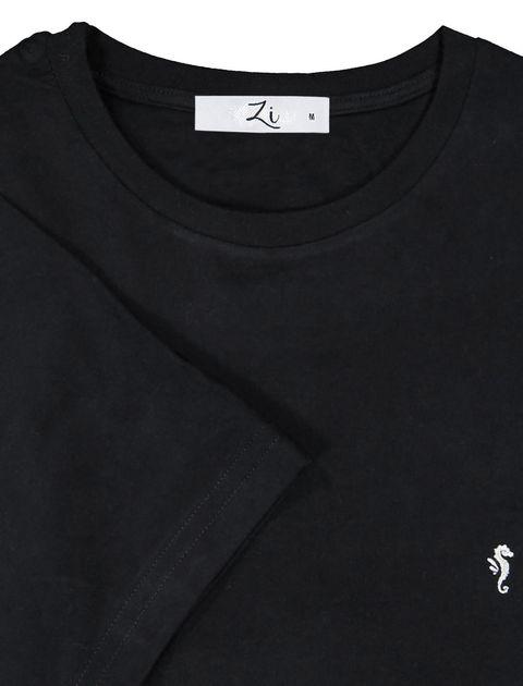 تی شرت نخی یقه گرد مردانه - زی - مشکي - 7