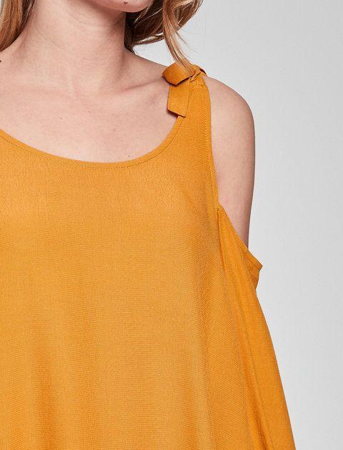 بلوز ویسکوز آستین بلند زنانه - نارنجي - 9