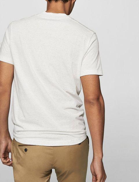 تی شرت نخی یقه گرد مردانه - سفيد - 6