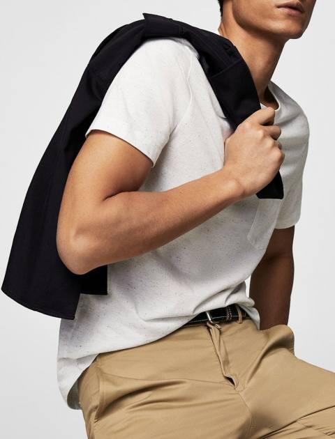 تی شرت نخی یقه گرد مردانه - سفيد - 7