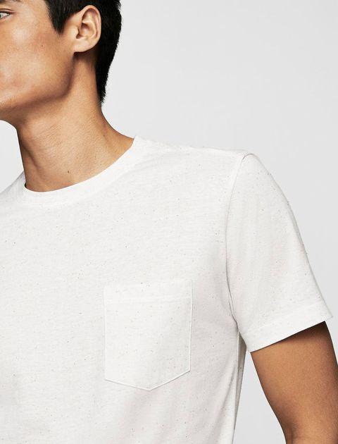تی شرت نخی یقه گرد مردانه - سفيد - 8