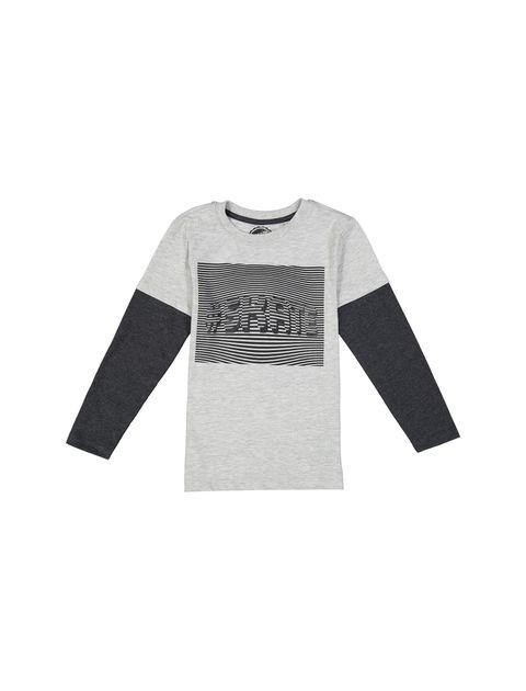 تی شرت نخی یقه گرد پسرانه - بلوزو - طوسي - 1
