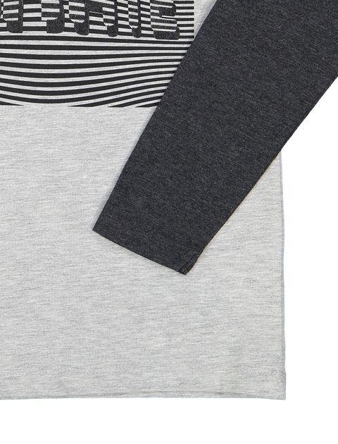 تی شرت نخی یقه گرد پسرانه - بلوزو - طوسي - 3