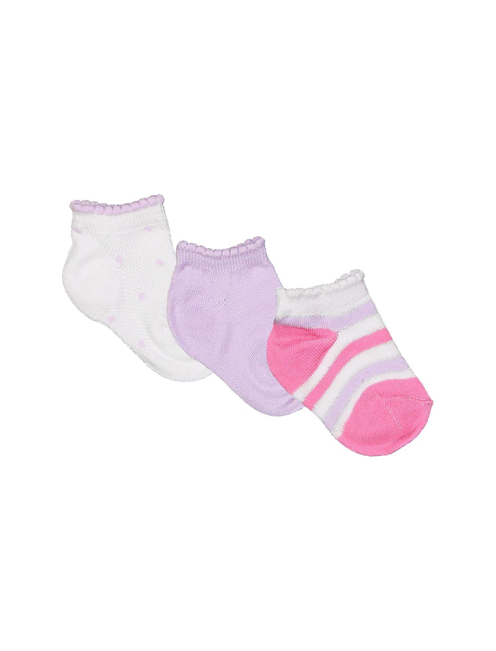 جوراب نخی نوزادی دخترانه بسته 3 عددی - بلوکیدز - بنفش و سفيد - 1