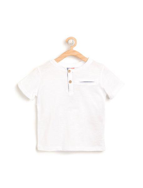 تی شرت نخی ساده نوزادی پسرانه - سفيد - 1