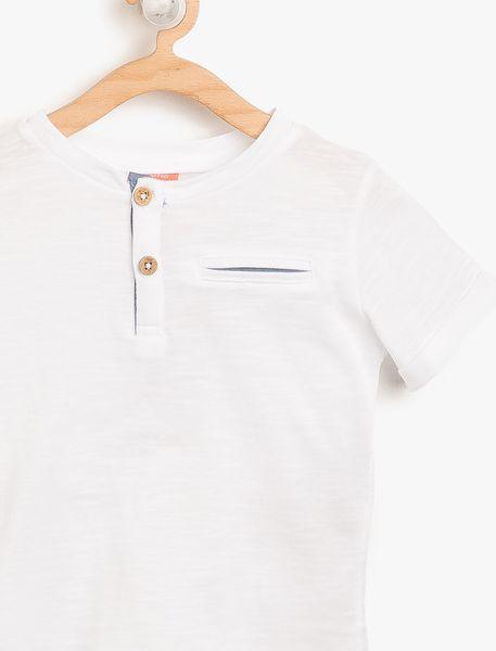 تی شرت نخی ساده نوزادی پسرانه - سفيد - 3