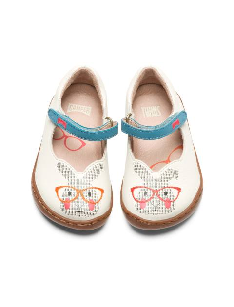 کفش چرم چسبی نوزادی دخترانه - کمپر - سفيد - 3