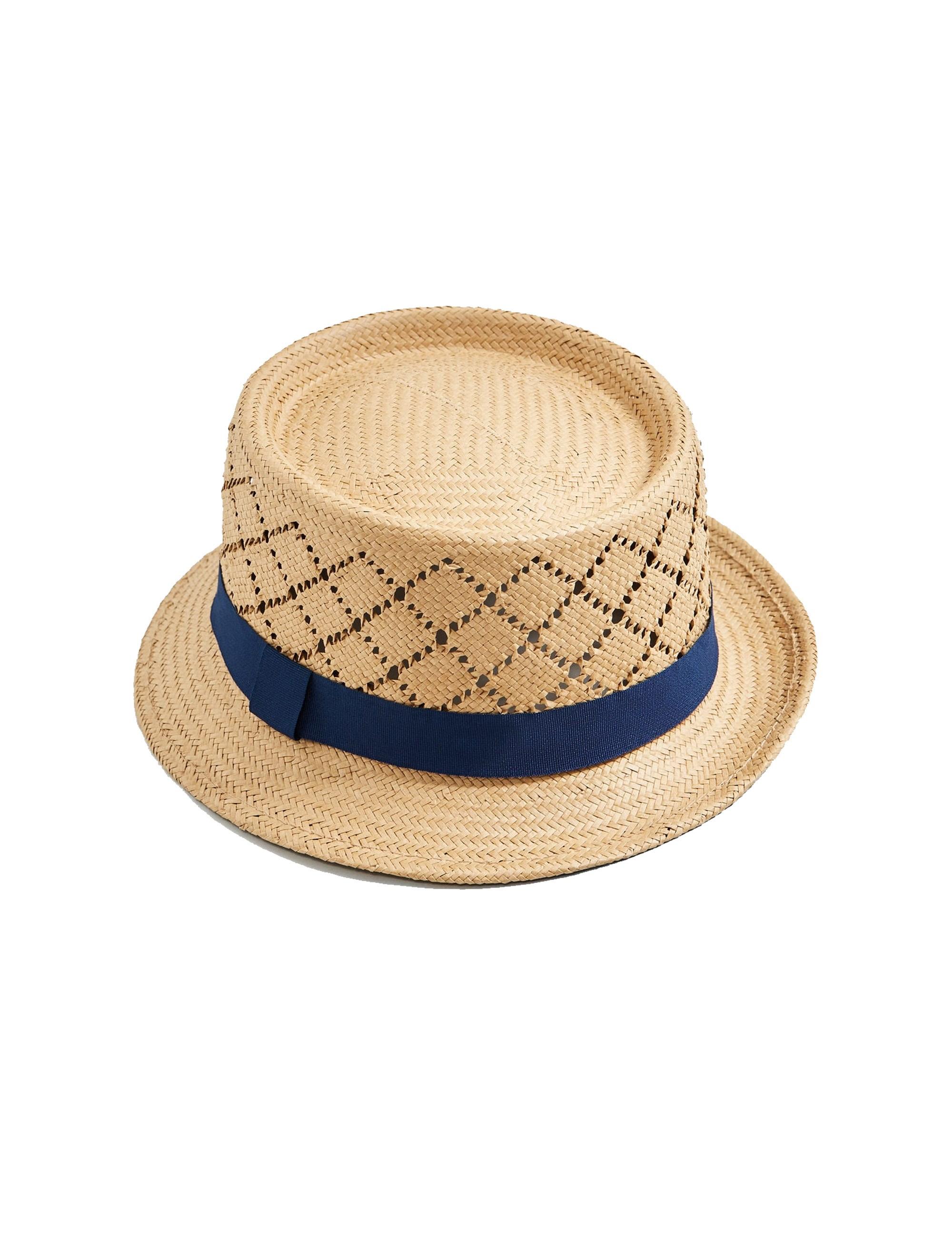 کلاه حصیری مردانه - سرمه اي - 2