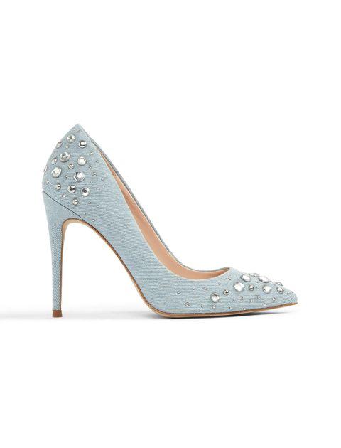 کفش پاشنه بلند پارچه ای زنانه - آبي روشن - 1